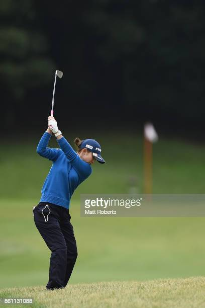 Aya Ezawa of Japan plays her approach shot on the 16th hole during the second round of the Fujitsu Ladies 2017 at the Tokyu Seven Hundred Club on...