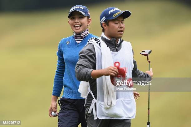 Aya Ezawa of Japan reacts after her putt on the 3rd green during the second round of the Fujitsu Ladies 2017 at the Tokyu Seven Hundred Club on...