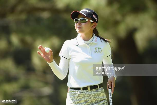 Aya Ezawa of Japan reacts on the 4th green during the second round of the HokennoMadoguchi Ladies at the Fukuoka Country Club Wajiro Course on May 13...