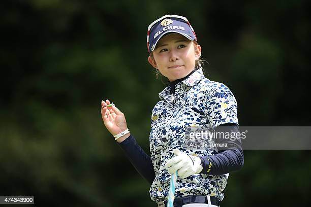 Aya Ezawa of Japan smiles during the first round of the Chukyo Television Bridgestone Ladies Open at the Chukyo Golf Club Ishino Course on May 22...