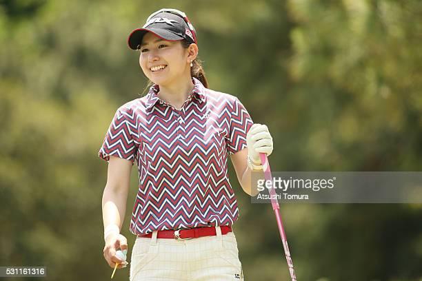 Aya Ezawa of Japan smiles during the first round of the HokennoMadoguchi Ladies at the Fukuoka Country Club Ishino Course on May 13 2016 in Fukuoka...