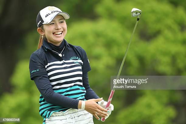 Aya Ezawa of Japan smiles during the first round of the Suntory Ladies Open at the Rokko Kokusai Golf Club on June 11 2015 in Kobe Japan