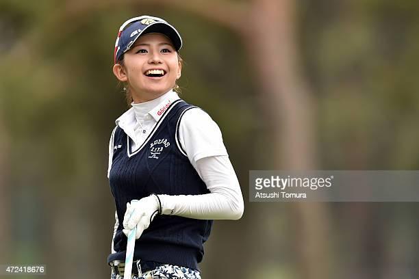 Aya Ezawa of Japan smiles during the first round of the World Ladies Championship Salonpas Cup at the Ibaraki Golf Club on May 7 2015 in Tsukubamirai...