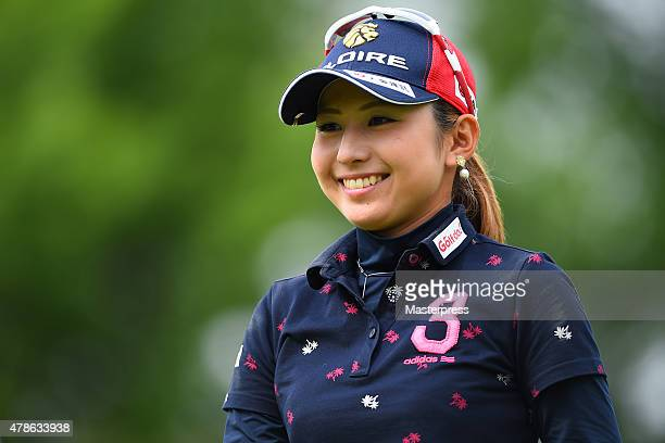 Aya Ezawa of Japan smiles during the second round of the Earth Mondamin Cup at the Camellia Hills Country Club on June 26 2015 in Sodegaura Japan