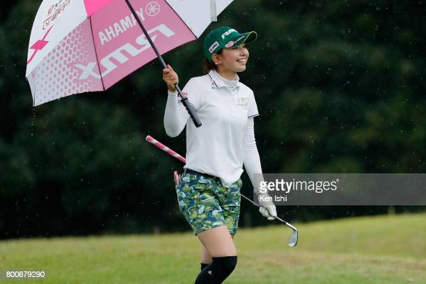 Aya Ezawa of Japan walks on the fairway on the 18th hole during the final round of the Yupiteru The Shizuoka Shimbun SBS Ladies at the Shizuoka...