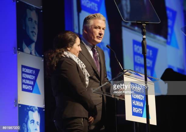 Aya Hijazi and Alec Baldwin speak onstage during Robert F. Kennedy Human Rights Hosts Annual Ripple Of Hope Awards Dinner on December 13, 2017 in New...