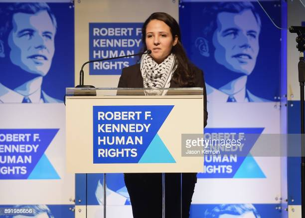 Aya Hijazi speaks onstage during Robert F. Kennedy Human Rights Hosts Annual Ripple Of Hope Awards Dinner on December 13, 2017 in New York City.