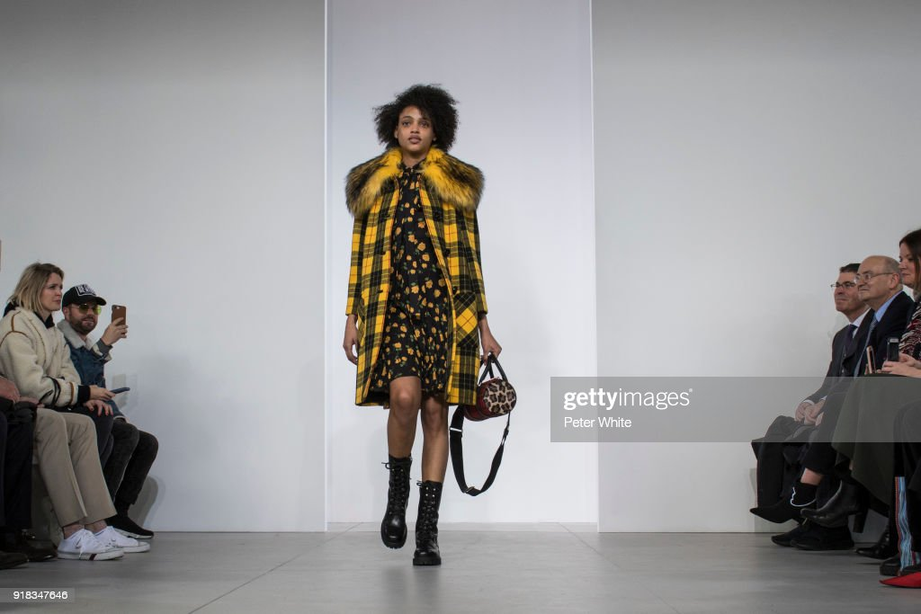 Aya Jones walks the runway during the Michael Kors Collection Fall 2018 Runway Show at Vivian Beaumont Theatre at Lincoln Center on February 14, 2018 in New York City.