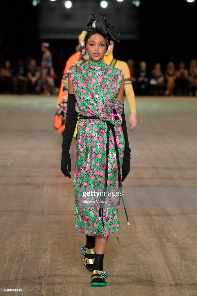 Aya Jones walks the runway for Marc Jacobs SS18 fashion show during New York Fashion Week at Park Avenue Armory on September 13, 2017 in New York City.