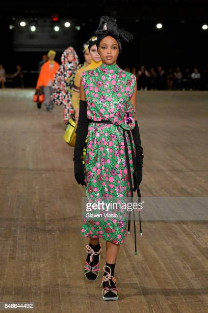 Aya Jones walks the runway for Marc Jacobs SS18 fashion show during New York Fashion Week at Park Avenue Armory on September 13 2017 in New York City