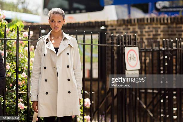 Aya Jones wears Burberry during The London Collections Men SS16 at Perks Fields Kensington Gardens n June 15 2015 in London England