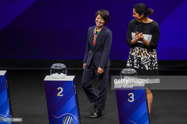 Aya Miyama of Japan and Steffi Jones during the Women's World Cup Draw 2019 at La Seine Musicale on December 8 2018 in Paris France