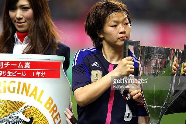 Aya Miyama of Japan celebrates after winning during the international friendly match between Japan and Brazil at Home's Stadium Kobe on April 5 2012...