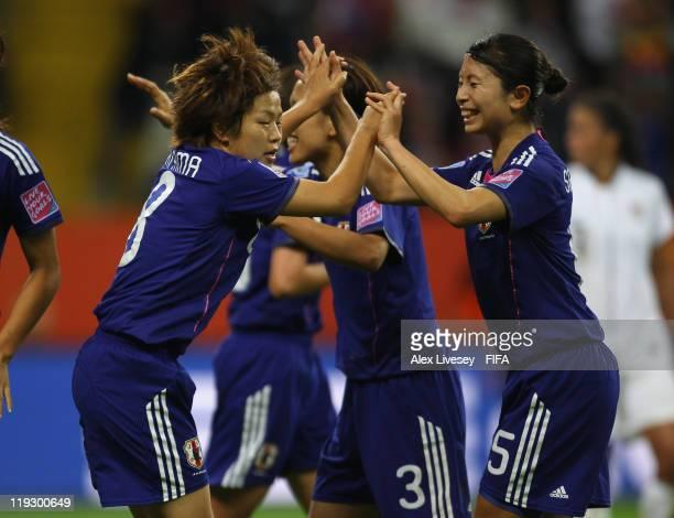 Aya Miyama of Japan celebrates with Kyoko Yano after scoring her goal during the FIFA Women's World Cup Final match between Japan and USA at the FIFA...