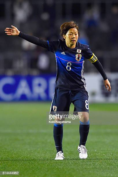 Aya Miyama of Japan gestures during the AFC Women's Olympic Final Qualification Round match between Japan and North Korea at Kincho Stadium on March...