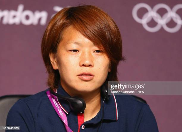 Aya Miyama of Japan is seen during the Women's Football Final press conference at the Main Press Centre as part of the London 2012 Olympic Games on...