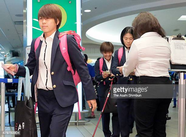 Aya Miyama of Japan is seen on departure at Vancouver International Airport on July 6, 2015 in Vancouver, Canada.