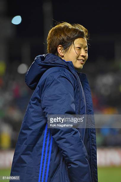 Aya Miyama of Japan looks on after the AFC Women's Olympic Final Qualification Round match between Japan and North Korea at Kincho Stadium on March 9...