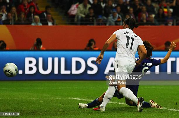 Aya Miyama of Japan scores her team's first goal during the FIFA Women's World Cup Final match between Japan and USA at the FIFA World Cup stadium...