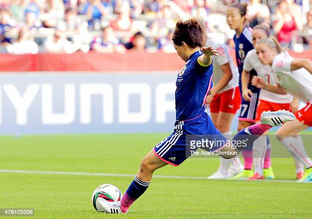 Aya Miyama of Japan scores her team's first goal from the penalty spot during the FIFA Women's World Cup 2015 Group C match between Japan and...