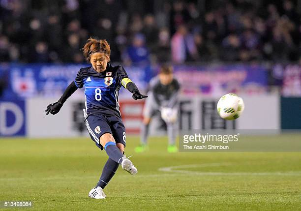 Aya Miyama of Japan takes a free kick during the AFC Women's Olympic Final Qualification Round match between Japan and South Korea at Kincho Stadium...