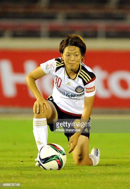 Aya Miyama of Yunogo Belle takes a free kick during the Nadeshiko League match between Urawa Red Diamonds Ladies and Okayama Yunogo Belle at Komaba...