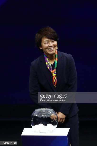 Aya Miyama on stage during the FIFA Women's World Cup France 2019 Draw at La Seine Musicale on December 8 2018 in Paris France