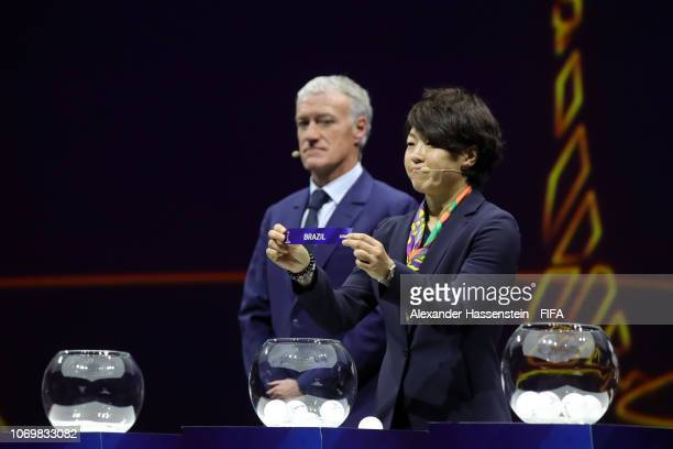 Aya Miyama picks out Brazil during the FIFA Women's World Cup France 2019 Draw at La Seine Musicale on December 8 2018 in Paris France