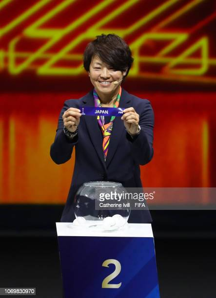 Aya Miyama picks out Japan during the FIFA Women's World Cup France 2019 Draw at La Seine Musicale on December 8 2018 in Paris France