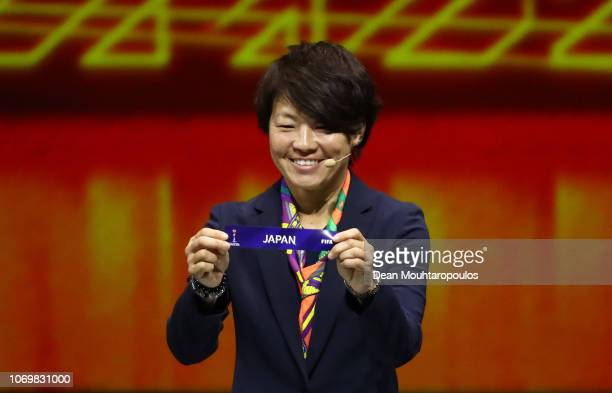 Aya Miyama picks out Japan during the FIFA Women's World Cup France 2019 Draw at La Seine Musicale on December 8, 2018 in Paris, France.