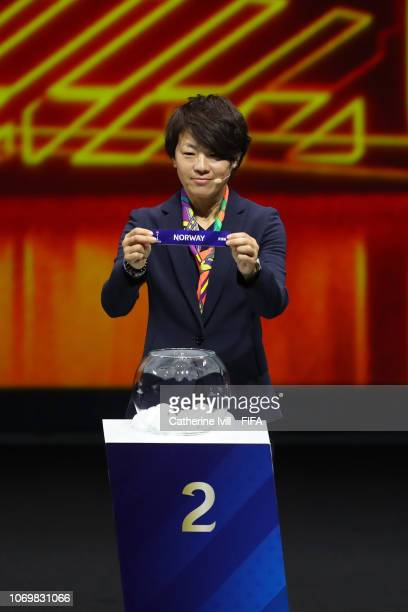Aya Miyama picks out Norway during the FIFA Women's World Cup France 2019 Draw at La Seine Musicale on December 8 2018 in Paris France