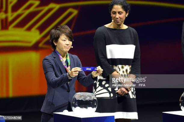 Aya Miyama picks out Spain during the FIFA Women's World Cup France 2019 Draw at La Seine Musicale on December 8 2018 in Paris France