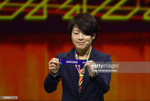 Aya Miyama picks out Sweden during the FIFA Women's World Cup France 2019 Draw at La Seine Musicale on December 8 2018 in Paris France