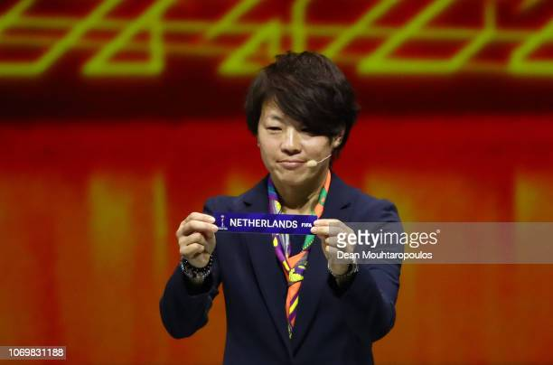 Aya Miyama picks out the Netherlands during the FIFA Women's World Cup France 2019 Draw at La Seine Musicale on December 8 2018 in Paris France