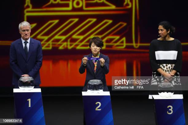 Aya Miyama picks out the Sweden during the FIFA Women's World Cup France 2019 Draw at La Seine Musicale on December 8 2018 in Paris France