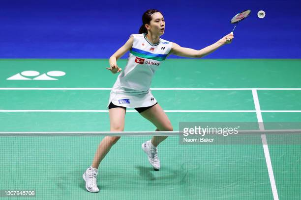 Aya Ohori of Japan in action during her first round match against Line Hojmark Kjaersfeldt during day one of YONEX All England Open Badminton...