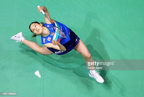 Aya Ohori of Japan returns a shot during her round of 16 match against Busanan Ongbamrungphan of Thailand during day two of YONEX All England Open...