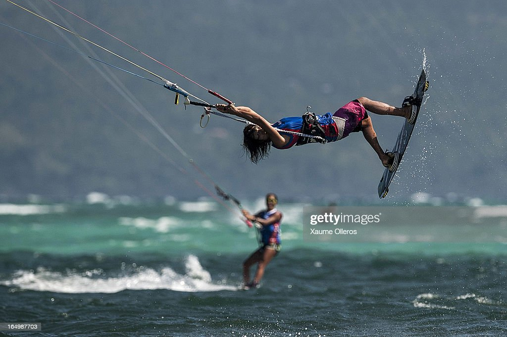 Aya Oshima of Japan competes on freestyle during day five of the KTA at Boracay Island on March 30, 2013 in Makati, Philippines.