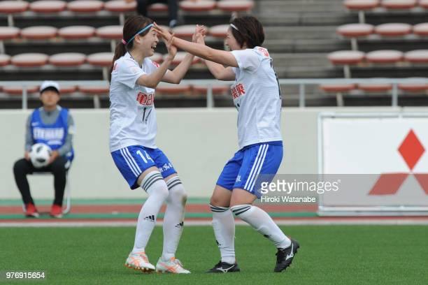 Aya Saeki of Albirex Niigata Ladies celebrates scoring her team's second goal during the Nadeshiko Cup match between Urawa Red Diamonds Ladies and...
