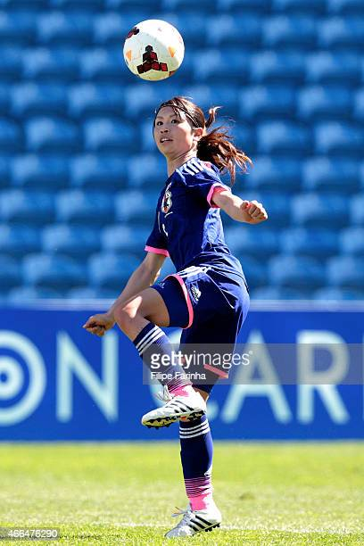 Aya Sameshima of Japan during the Women's Algarve Cup match between Japan and Iceland at Estadio Algarve on March 11 2015 in Faro Portugal