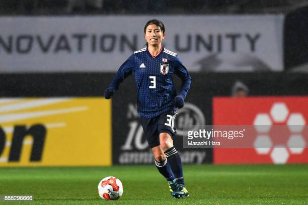 Aya Sameshima of Japan in action during the EAFF E1 Women's Football Championship between Japan and South Korea at Fukuda Denshi Arena on December 8...