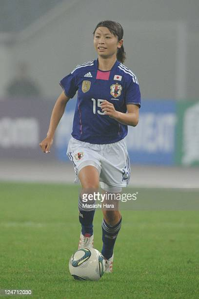 Aya Sameshima of Japan in action during the London Olympic Women's Football Asian Qualifier match between Japan and China at Jinan Olympic Sports...