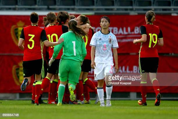 Aya Sameshima of Japan looks dejected after Belgium equalized by 11 during the Women's International Friendly match between Belgium and Japan at...
