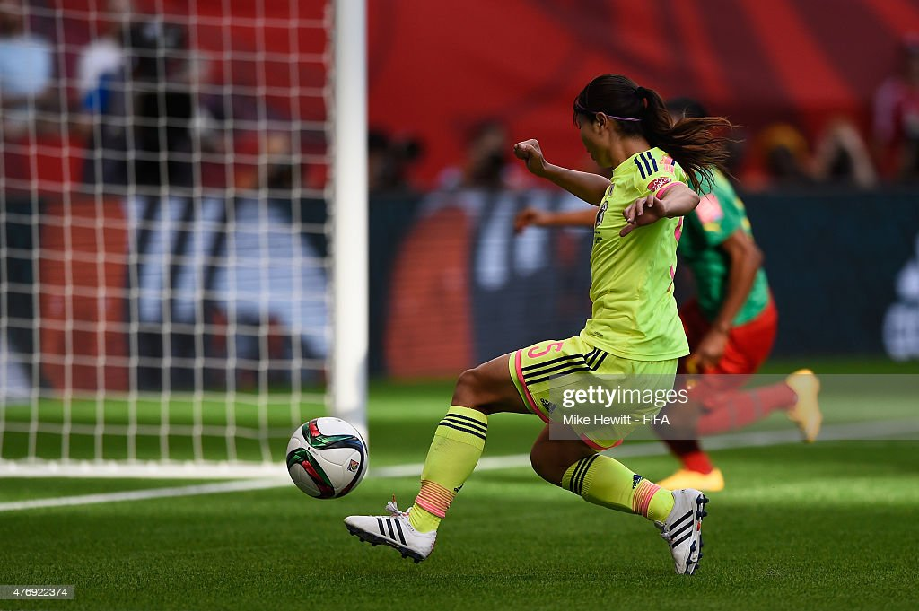 Aya Sameshima of Japan opens the scoring during the FIFA Women's World Cup 2015 Group C match between Japan and Cameroon at BC Place Stadium on June 12, 2015 in Vancouver, Canada.