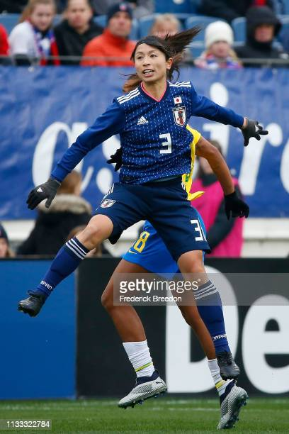 Aya Sameshima of Japan plays during the 2019 SheBelieves Cup match between Brazil and Japan at Nissan Stadium on March 2 2019 in Nashville Tennessee