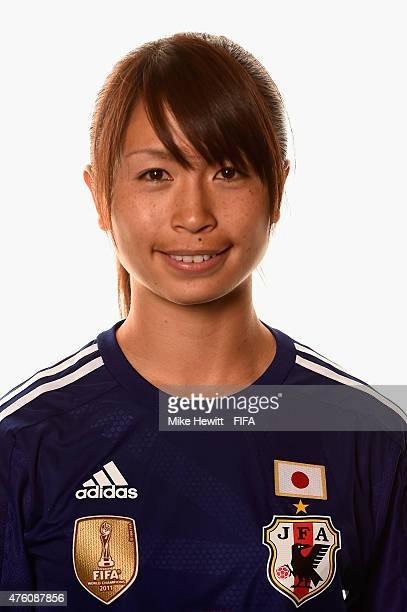 Aya Sameshima of Japan poses for a portrait during the official Japan portrait session ahead of the FIFA Women's World Cup 2015 at the Sheraton Wall...