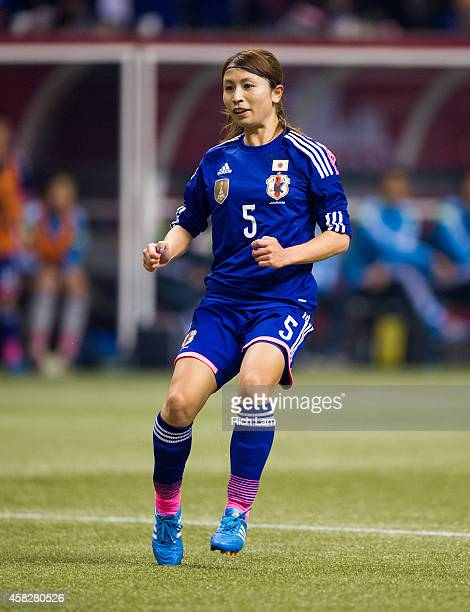 Aya Sameshima of Japan runs during Women's International Soccer Friendly Series action against Canada on October 28 2014 at BC Place Stadium in...