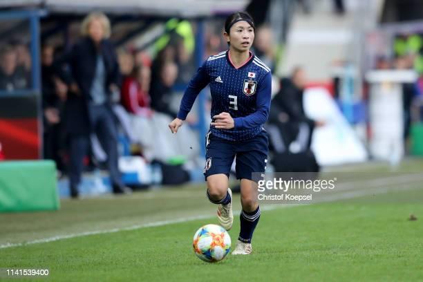 Aya Sameshima of Japan runs with the ball during the Women's International Friendly match between Germany and Japan at Benteler Arena on April 09...