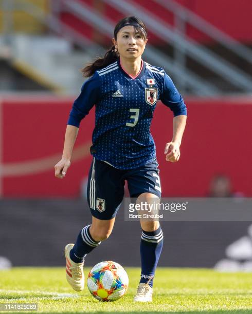 Aya Sameshima of Japan runs with the ball during the Women's International Friendly match between Germany and Japan at Benteler Arena on April 09...