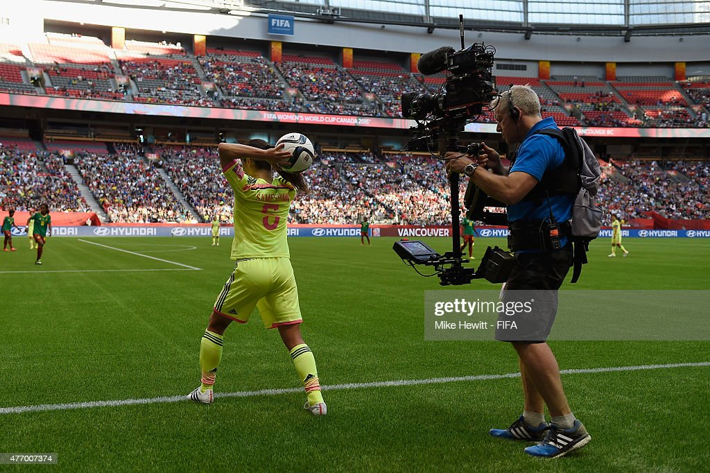 Aya Sameshima of Japan takes a throw in during the FIFA Women's World Cup 2015 Group C match between Japan and Cameroon at BC Place Stadium on June 12, 2015 in Vancouver, Canada.
